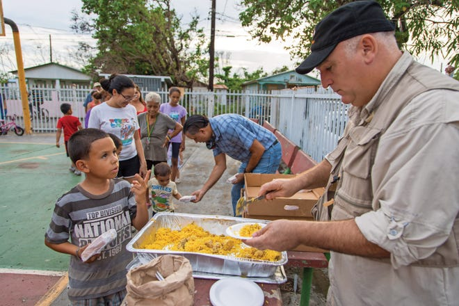 Chef Jose Andres serves meals in Puerto Rico