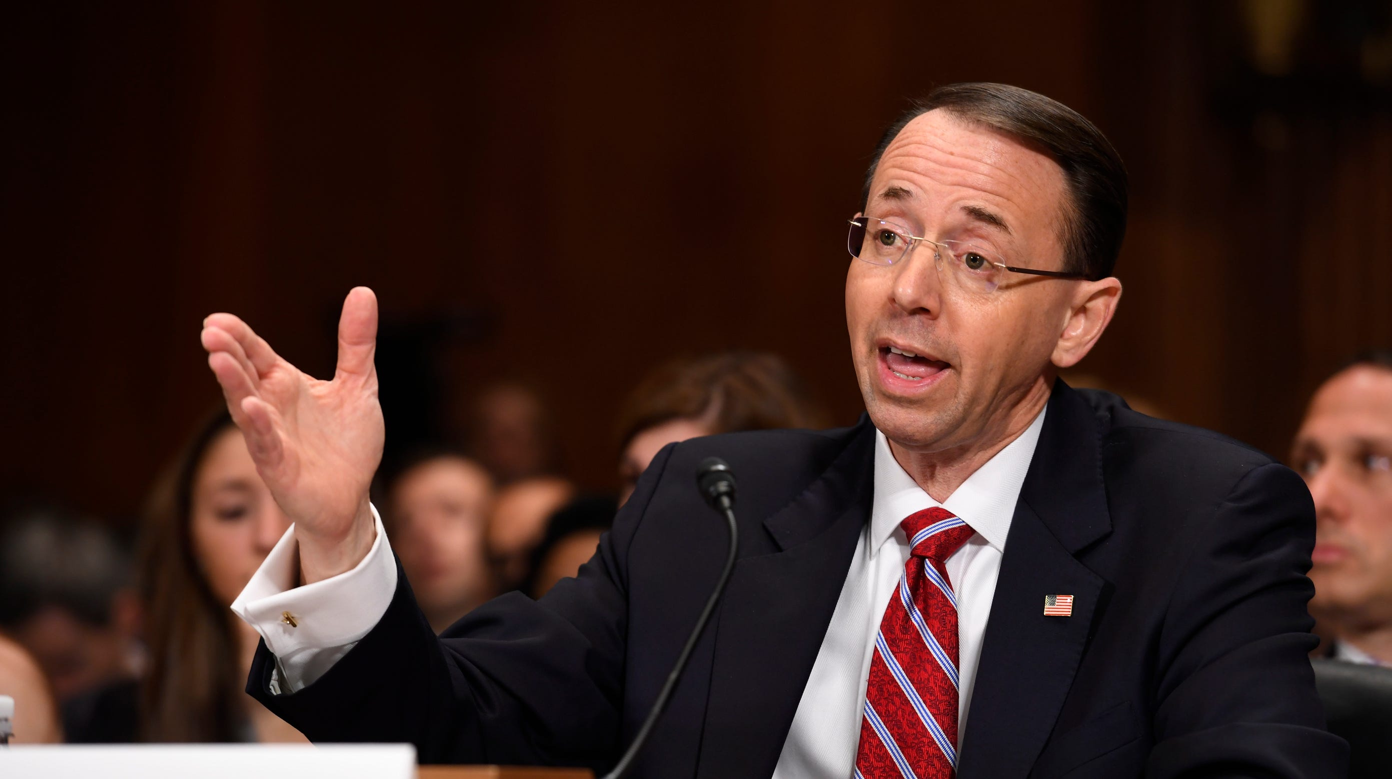 Rod Rosenstein testifies during the Senate Judiciary Committee confirmation hearing of Rod Rosenstein for Deputy Attorney General and Rachel L. Brand for Associate Attorney General. Attorney General Jeff Sessions picked him to supervise the Russia medaling investigation after recusing himself, thereby infuriating President Trump.