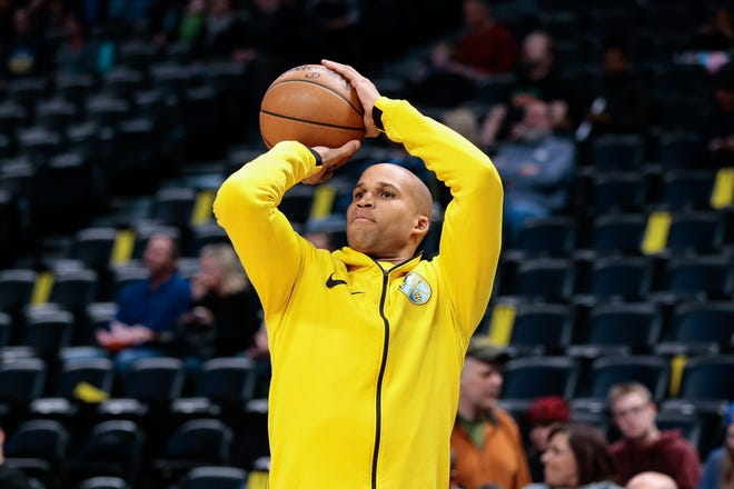 Denver Nuggets forward Richard Jefferson (22) warms up before the game against the Dallas Mavericks at the Pepsi Center.