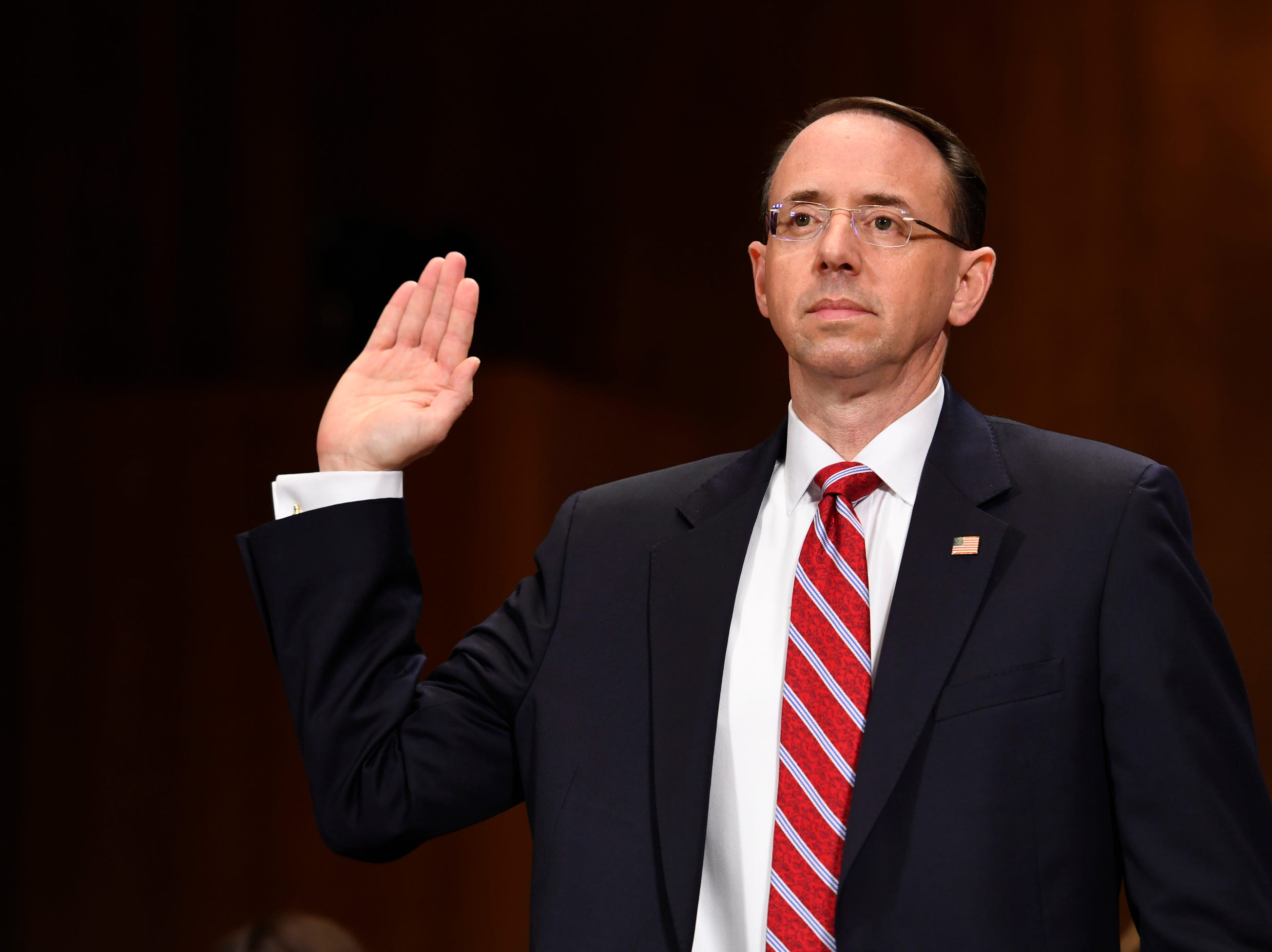 Rosenstein is sworn in at the start of the Senate Judiciary Committee confirmation hearing of Rod Rosenstein for Deputy Attorney General and Rachel L. Brand for Associate Attorney General.