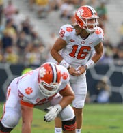 Clemson quarterback Trevor Lawrence (16) plays against Georgia Tech during the 2nd quarter at Georgia Tech's Bobby Dodd Stadium Saturday, September 22, 2018.