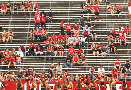 Rutgers Scarlet Knights hard core fans in the student section during the second half vs Buffalo Bulls at HighPoint.com Stadium in Piscataway. September 22, 2018, Piscataway, NJ