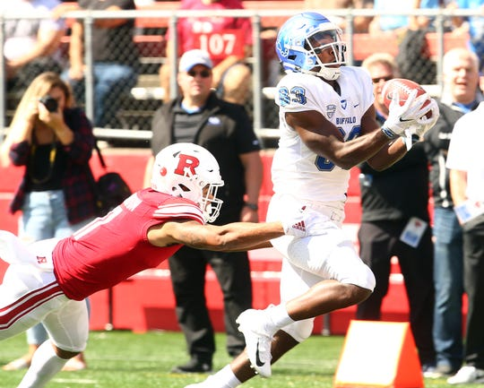 Buffalo Bulls receiver Anthony Johnson pulls in a pass for a touchdown vs. Rutgers Scarlet Knights at HighPoint.com Stadium in Piscataway. September 22, 2018, Piscataway, NJ