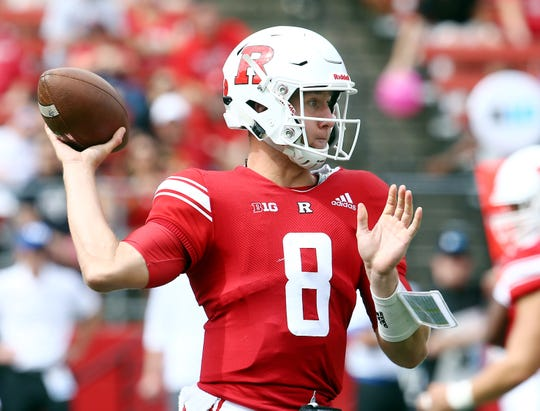 Rutgers Scarlet Knights quarterback Artur Sitkowski throws vs Buffalo Bulls at HighPoint.com Stadium in Piscataway. September 22, 2018, Piscataway, NJ