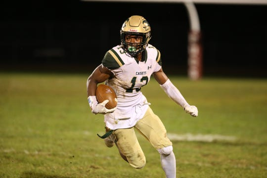 RBC's (#13) Jaden Key scores a touchdown during the second half of the football game between Red Bank Catholic and Red Bank Regional at Red Bank Regional High School in Little Silver, NJ Friday, September 21, 2018.