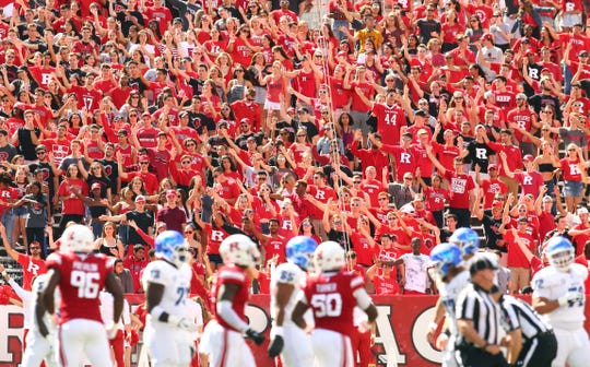 It's too early to tell if the 2020 college football season will take place as scheduled or how fans will respond. Pictured: Rutgers vs Buffalo in Piscataway, Sept. 22, 2018.