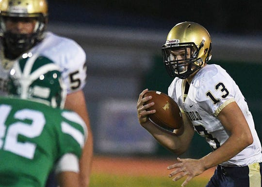 Freehold Borough's Matt Krauss looks for running room as Brick Twp defeats Freehold Borough 35-15 on 9/21/2018