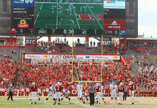 The student section during Rutgers Scarlet Knights vs Buffalo Bulls at HighPoint.com Stadium in Piscataway. September 22, 2018, Piscataway, NJ