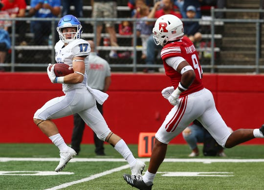 Buffalo Bulls receiver Charlie Jones looks back at the Rutgers Scarlet Knights defense on his way to a first half touchdown at HighPoint.com Stadium in Piscataway. September 22, 2018, Piscataway, NJ