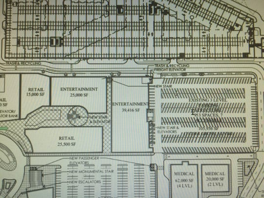 The site plan drawing for the lower level of the Heights at Monmouth where Boscov's now stands.