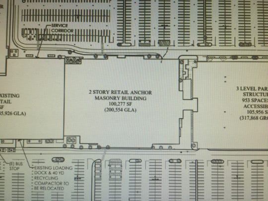 Architectural drawing of the building that houses Boscov's at Monmouth Mall.