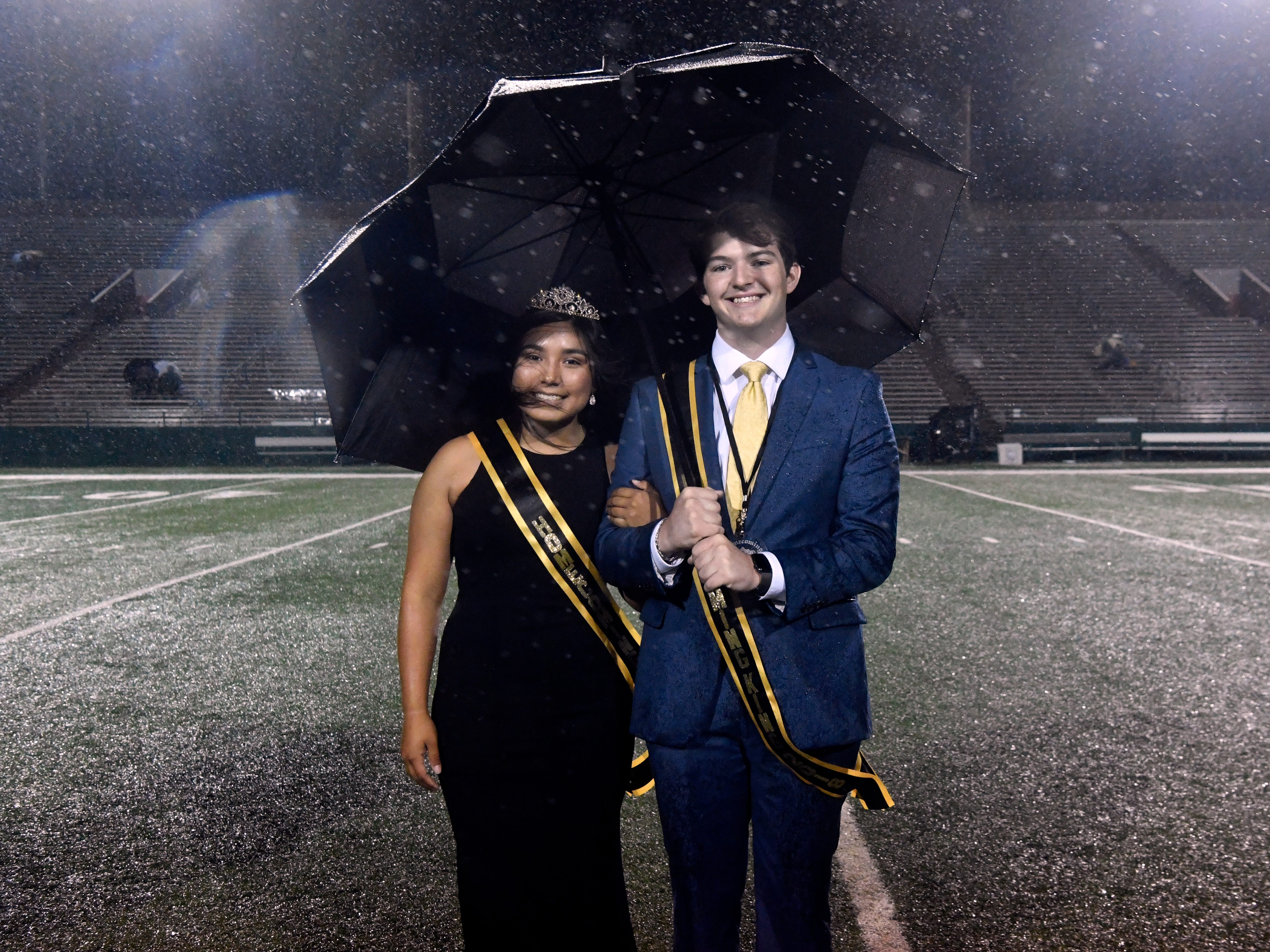Gabriella Hernandez and Dakota Drennan were named the 2018 Abilene High School homecoming queen and king during a rainy half-time ceremony Friday Sept. 21, 2018.