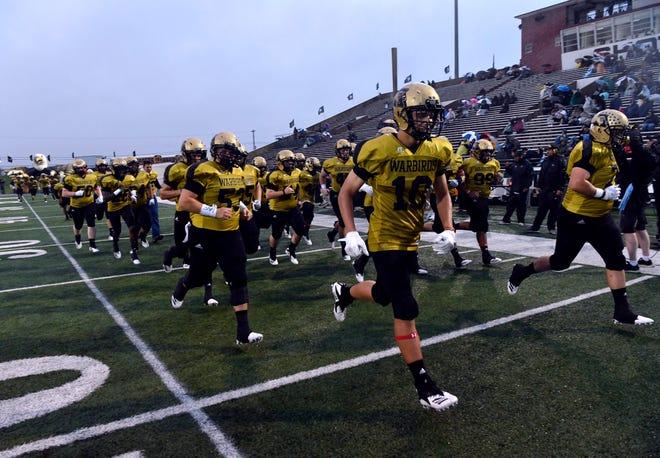 The Abilene High School Eagles take the field for their game against the Midland High School Bulldogs Friday Sept. 21, 2018. Abilene won, 13-0.
