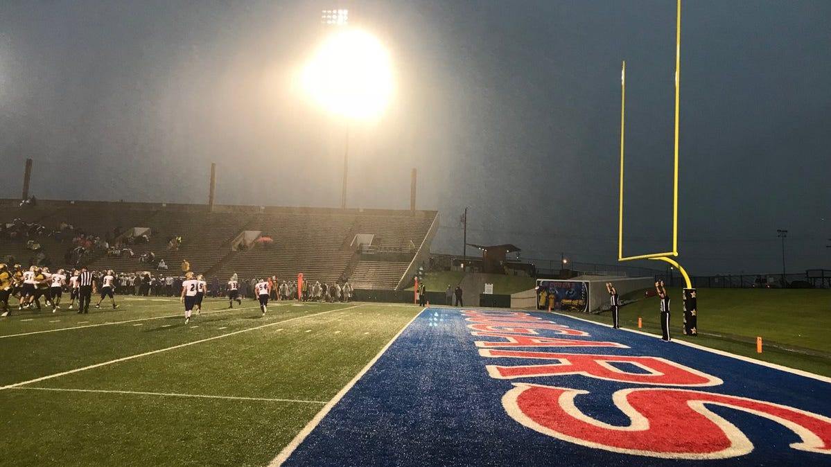 Abilene High gets on the board first with a field goal in the game against Midland High at Shotwell Stadium on a rainy Friday, Sept. 21, 2018.