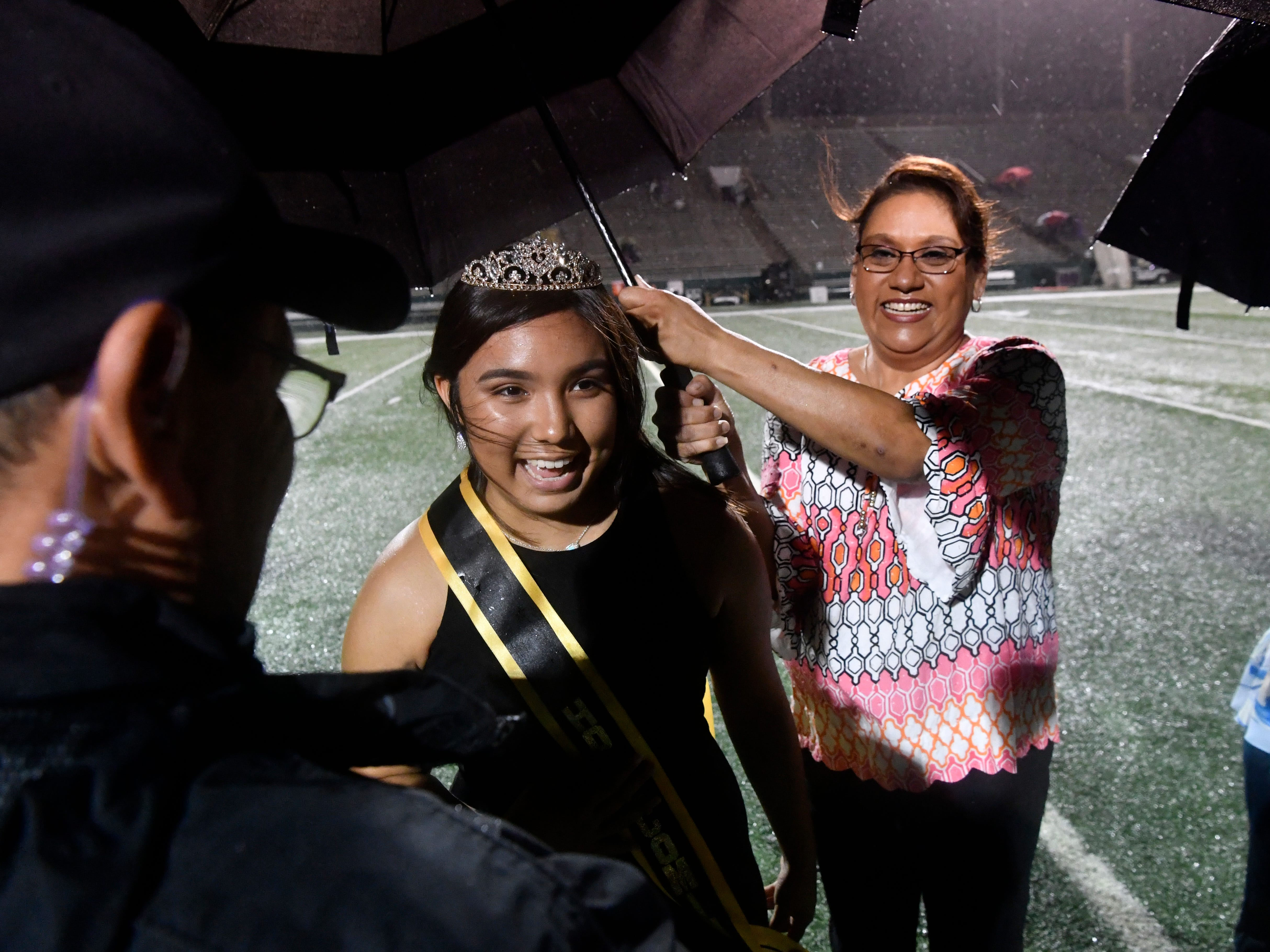 Gabriella Hernandez laughs after being named the 2018 Abilene High homecoming queen Friday Sept. 21, 2018.