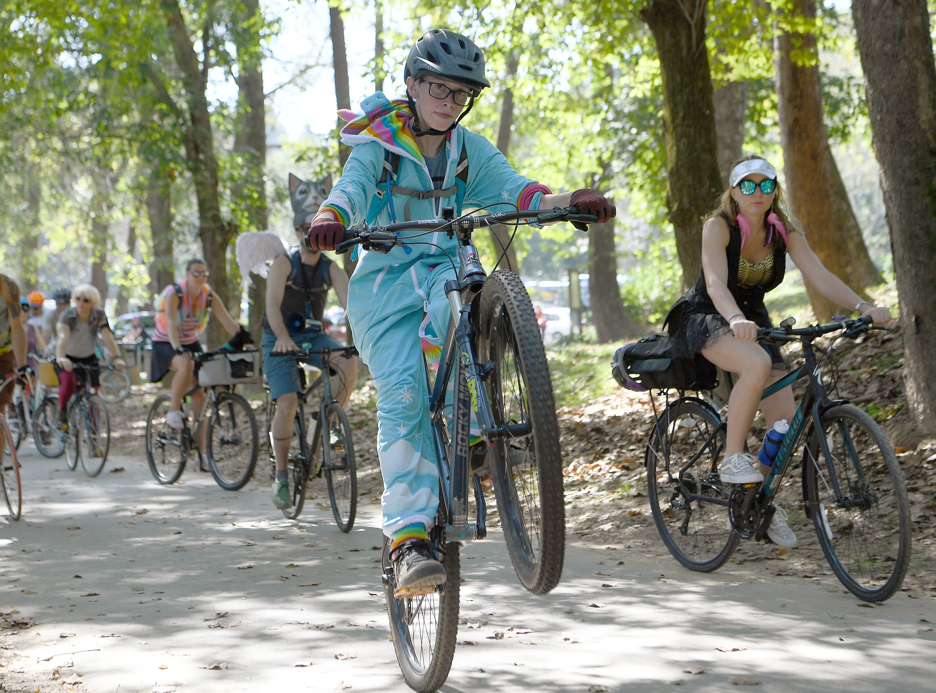 More than 500 cyclists paraded from the French Broad Outfitters at Hominy Creek to New Belgium in the Inaugural Asheville on Bikes and New Belgium Tour de Fat Bike Parade on Sept. 22, 2018.
