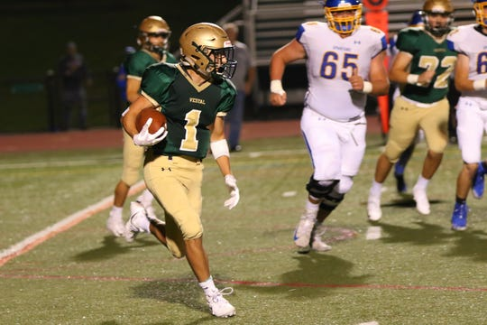 Vestal's Matt Thrasher rushed for 97 yards and returned a punt 79 yards for a touchdown in the Golden Bears' 38-32 loss to Maine-Endwell on Friday at Dick Hoover Stadium.