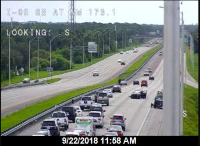 Scene of a crash on southbound I-95 near Palm Bay that is blocking lanes.