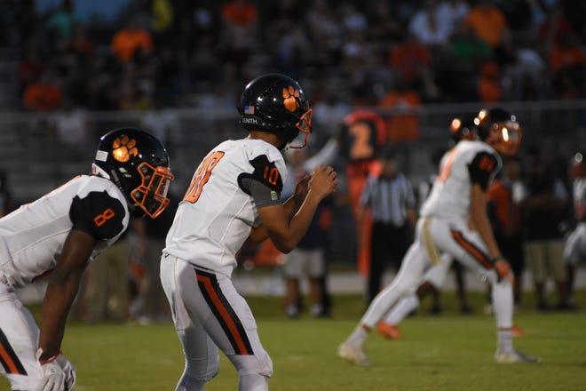 Cocoa quarterback D.J. Arroyo (10) prepares for a snap.