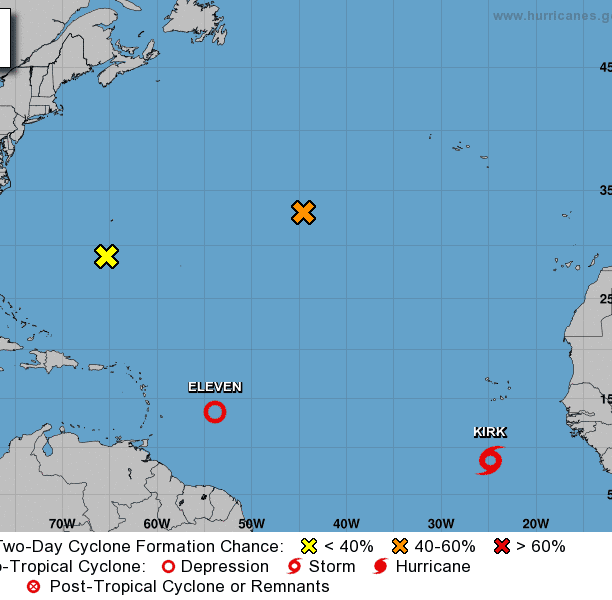 Tropical Storm Kirk moving WNW at 15 mph; NHC watching 3 more systems