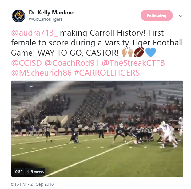 Carroll female kicker makes history with boot in game against Moody