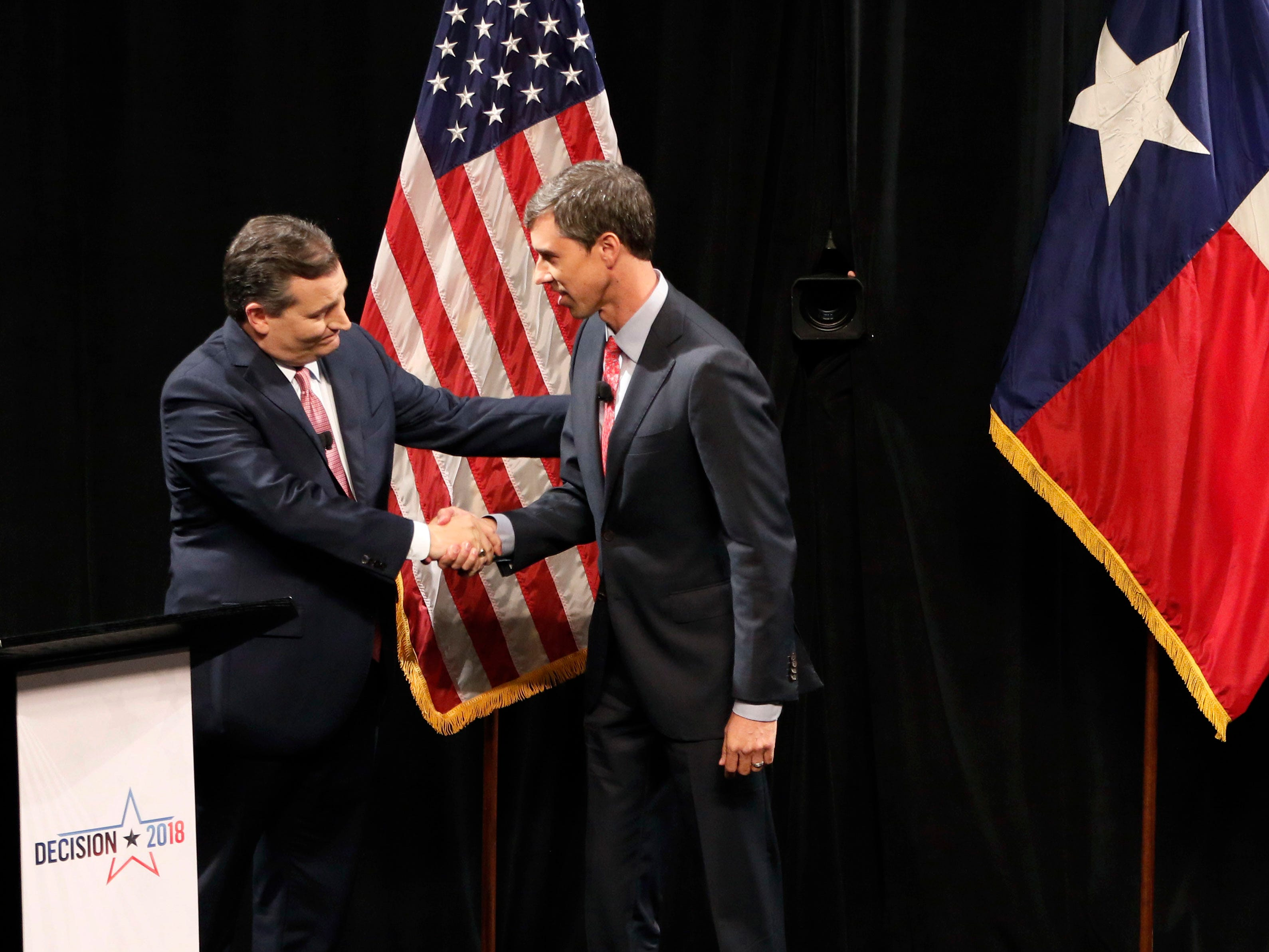 Republican U.S. Sen. Ted Cruz, left, and Democratic U.S. Rep. Beto O'Rourke, of El Paso, shake hands after their first debate for the Texas U.S. Senate on Sept. 21 in Dallas.