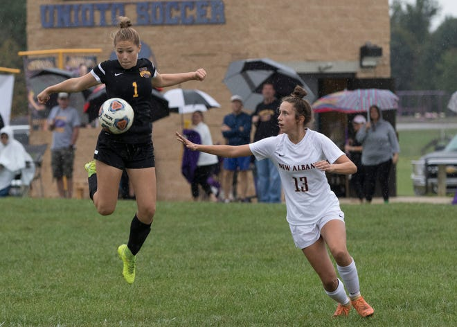 Unioto and Waverly face off in a girls soccer district semifinal match Thursday at Logan High School.