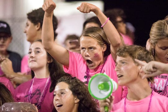 Along with other students, Zane Trace senior Abbey Mohan wears pink as she cheers on the football team during their home game against Unioto for its annual Pink Play for a Cure game on September 21, 2018.