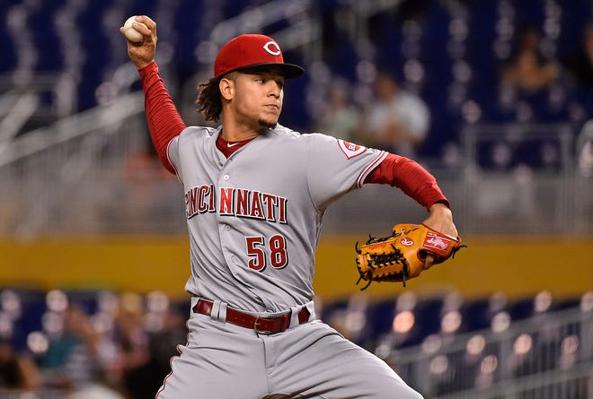 Sep 21, 2018; Miami, FL, USA; Cincinnati Reds starting pitcher Luis Castillo (58) delivers a pitch in the first inning against the Miami Marlins at Marlins Park. Mandatory Credit: Jasen Vinlove-USA TODAY Sports