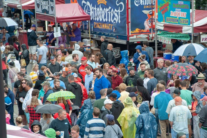 Oktoberfest Zinzinnati, Americas largest Oktoberfest takes over Second and Third Streest on Saturday, September 22, 2018. Inspite of a little rain thousands showed up for the second day of Oktoberfest.