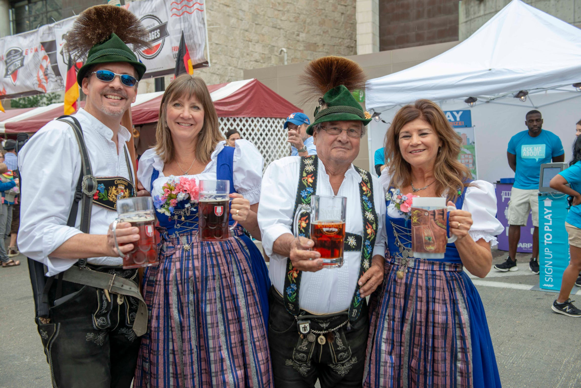 Oktoberfest Zinzinnati, Americas largest Oktoberfest takes over Second and Third Streets on Saturday, September 22, 2018. The Enziian Dance Group from Cincinnati performs  on the main stage located on Second Street and performs to traditional German music.