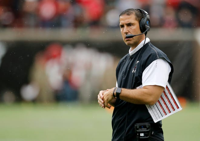 Cincinnati Bearcats head coach Luke Fickell stands by between plays in the fourth quarter of the NCAA football game between the Cincinnati Bearcats and the Ohio Bobcats at Nippert Stadium on the University of Cincinnati campus in Cincinnati on Saturday, Sept. 22, 2018. The Bearcats overcame a 24-7 deficit at halftime to win 34-30, improving to 4-0 on the season.