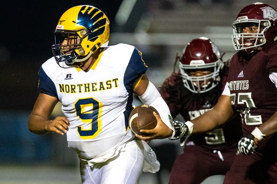 Heath Williams (9) of Northeast runs the ball with pressure during the second half at West Creek Friday, Sept. 21, 2018, in Clarksville, Tenn.
