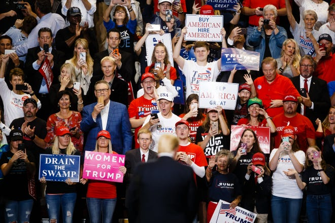 President Donald Trump speaks during a Make America Great Again rally at JQH Arena on the campus of Missouri State University on Friday, Sept. 21, 2018 in Springfield.