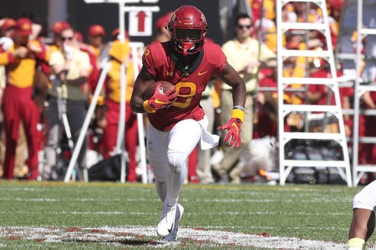 Sep 22, 2018; Ames, IA, USA; Iowa State Cyclones wide receiver Hakeem Butler (18) runs the football after a catch during their game with the Akron Zips at Jack Trice Stadium.