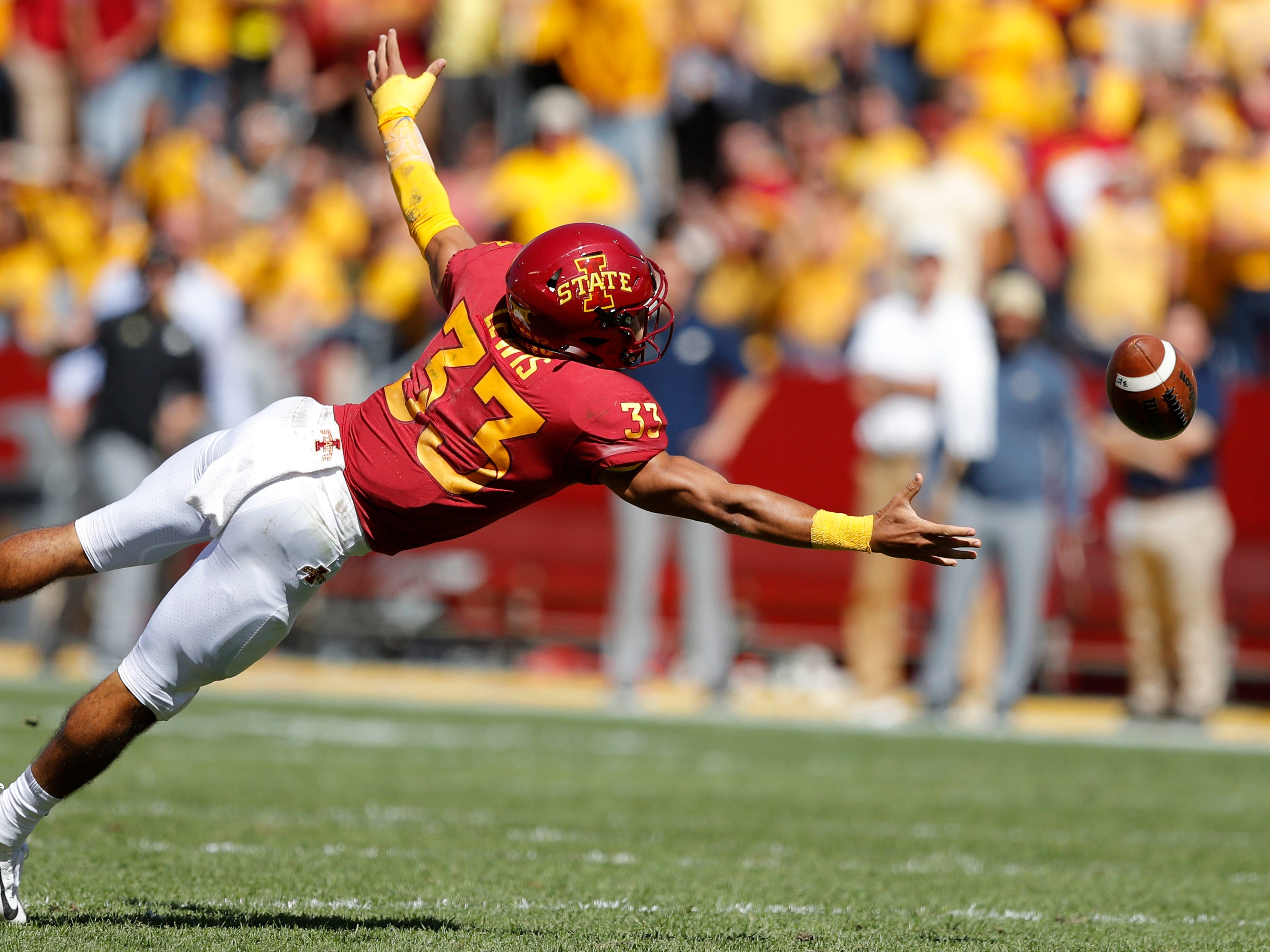 Iowa State defensive back Braxton Lewis makes a diving attempt for an interception during the second half of an NCAA college football game against Akron, Saturday, Sept. 22, 2018, in Ames, Iowa. The pass fell incomplete. Iowa State won 26-13.