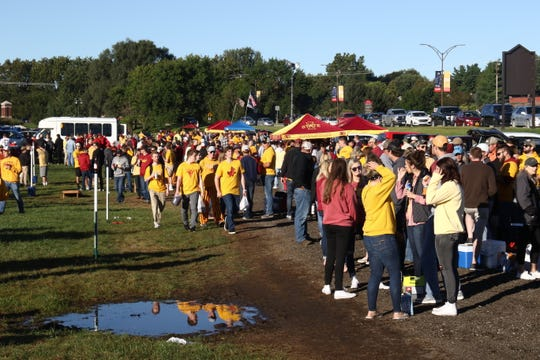 Iowa State fans tailgating in Ames ahead of the Sept. 22 game between the Cyclones and Akron Zips.