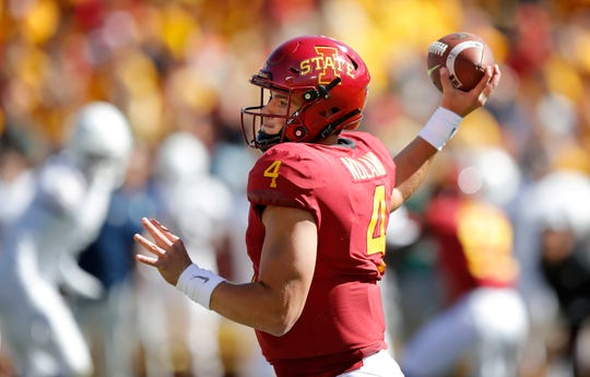 Iowa State quarterback Zeb Noland throws a pass during the first half of an NCAA college football game against Akron, Saturday, Sept. 22, 2018, in Ames, Iowa. Iowa State won 26-13.