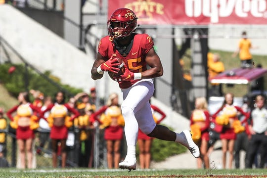 Sep 22, 2018; Ames, IA, USA; Iowa State Cyclones running back Sheldon Croney Jr. (25) runs the football against the Akron Zips at Jack Trice Stadium. The Cyclones beat the Zips 26 to 13.