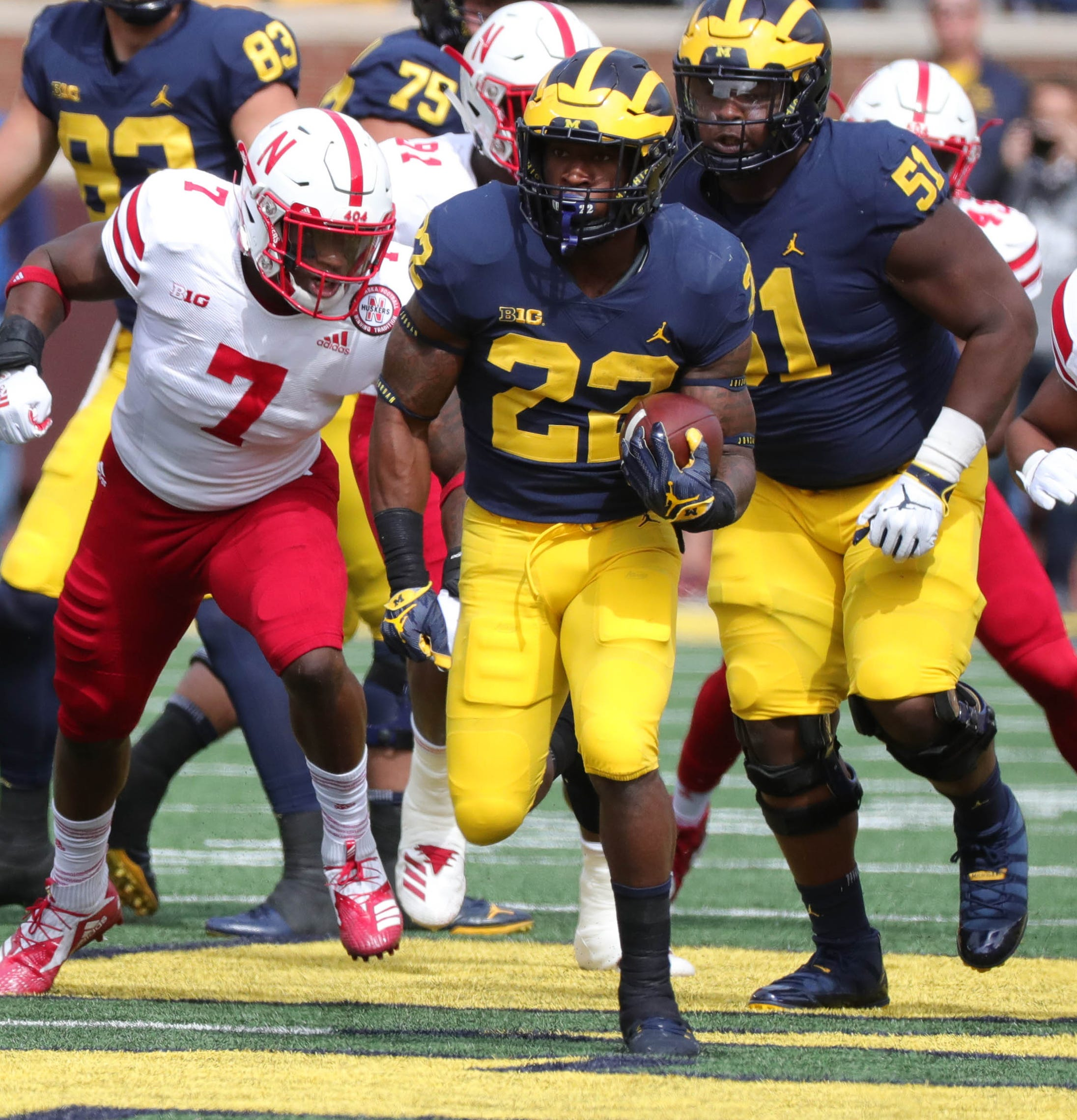Michigan running back Karan Higdon runs the ball for a first down against Nebraska during the first half on Saturday, Sept. 22, 2018, at Michigan Stadium.