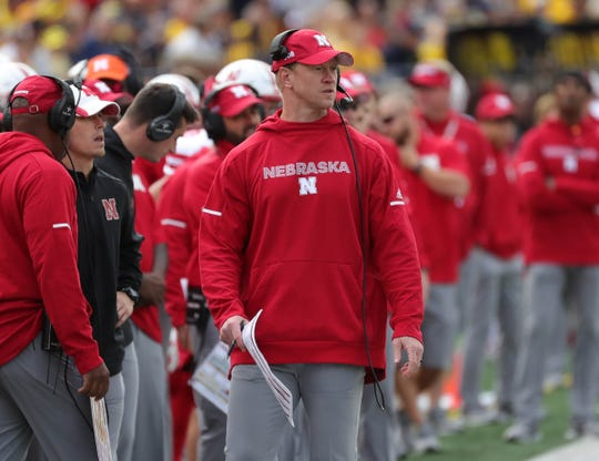 Nebraska head coach Scott Frost on the sideline during U-M's 56-10 win over Nebraska on Saturday, Sept. 22, 2018, at Michigan Stadium.
