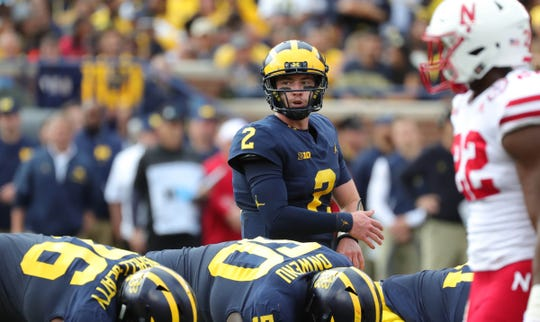 Michigan quarterback Shea Patterson runs the offense during U-M's 56-10 win over Nebraska on Saturday, Sept. 22, 2018, at Michigan Stadium.