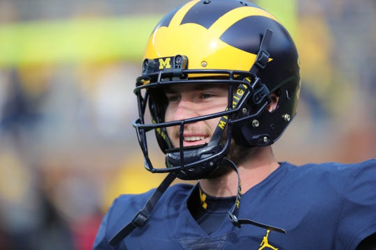 Michigan quarterback Shea Patterson warms up before action against Nebraska on Saturday, Sept. 22, 2018, at Michigan Stadium.