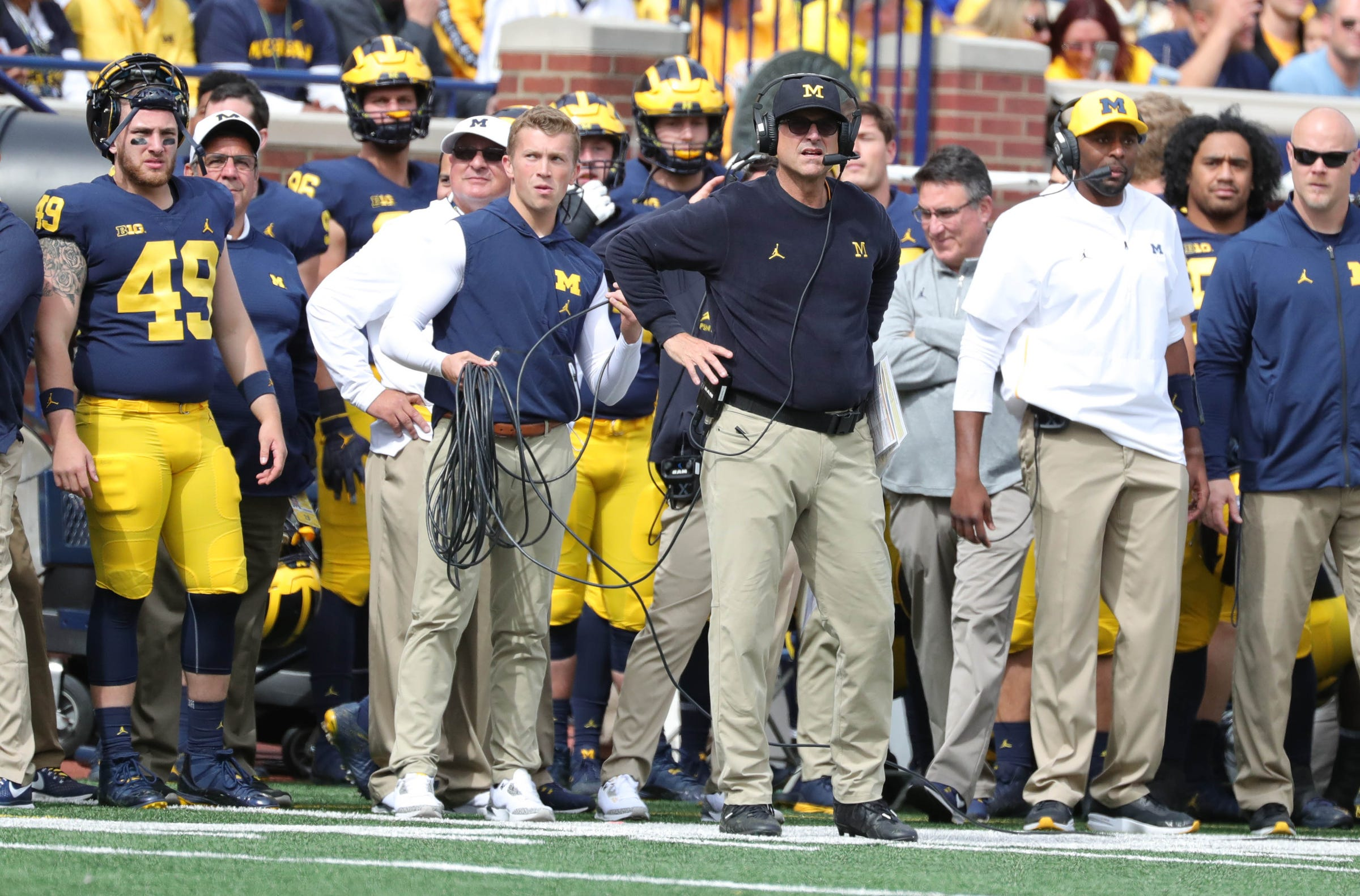 Michigan coach Jim Harbaugh on the sidelines during the first half on Saturday, Sept. 22, 2018, at Michigan Stadium.