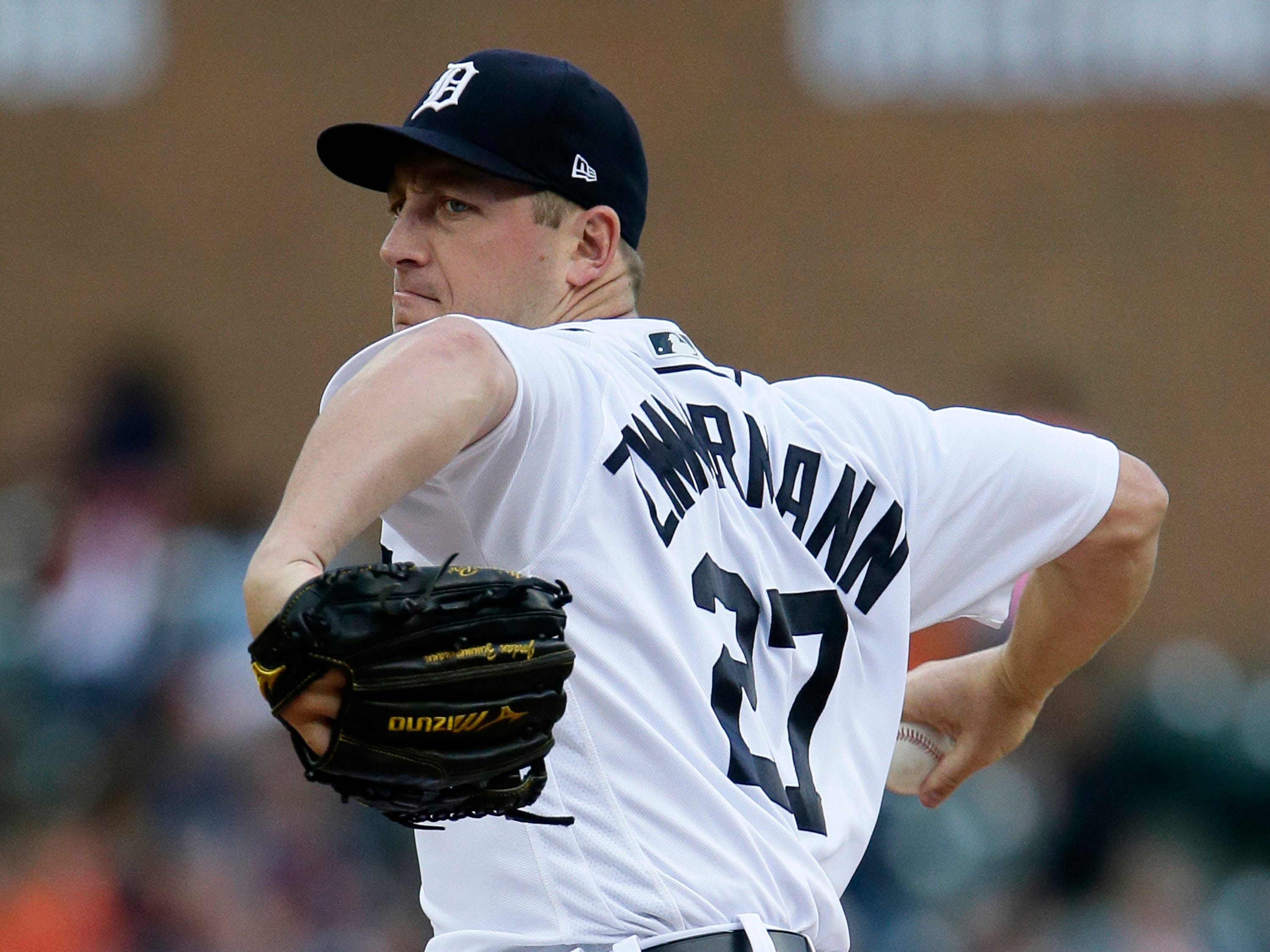 Detroit Tigers' Jordan Zimmermann pitches against the Kansas City Royals during the second inning at Comerica Park on Sept. 22, 2018 in Detroit.