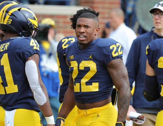 Michigan running back Karan Higdon on the field before action against Nebraska Saturday, September 22, 2018 at Michigan Stadium in Ann Arbor, Mich.