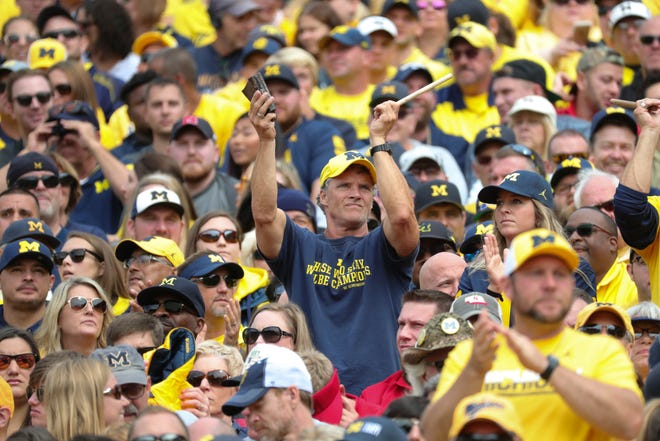 Michigan fans cheer during U-M's 56-10 win over Nebraska on Saturday, Sept. 22, 2018, at Michigan Stadium.