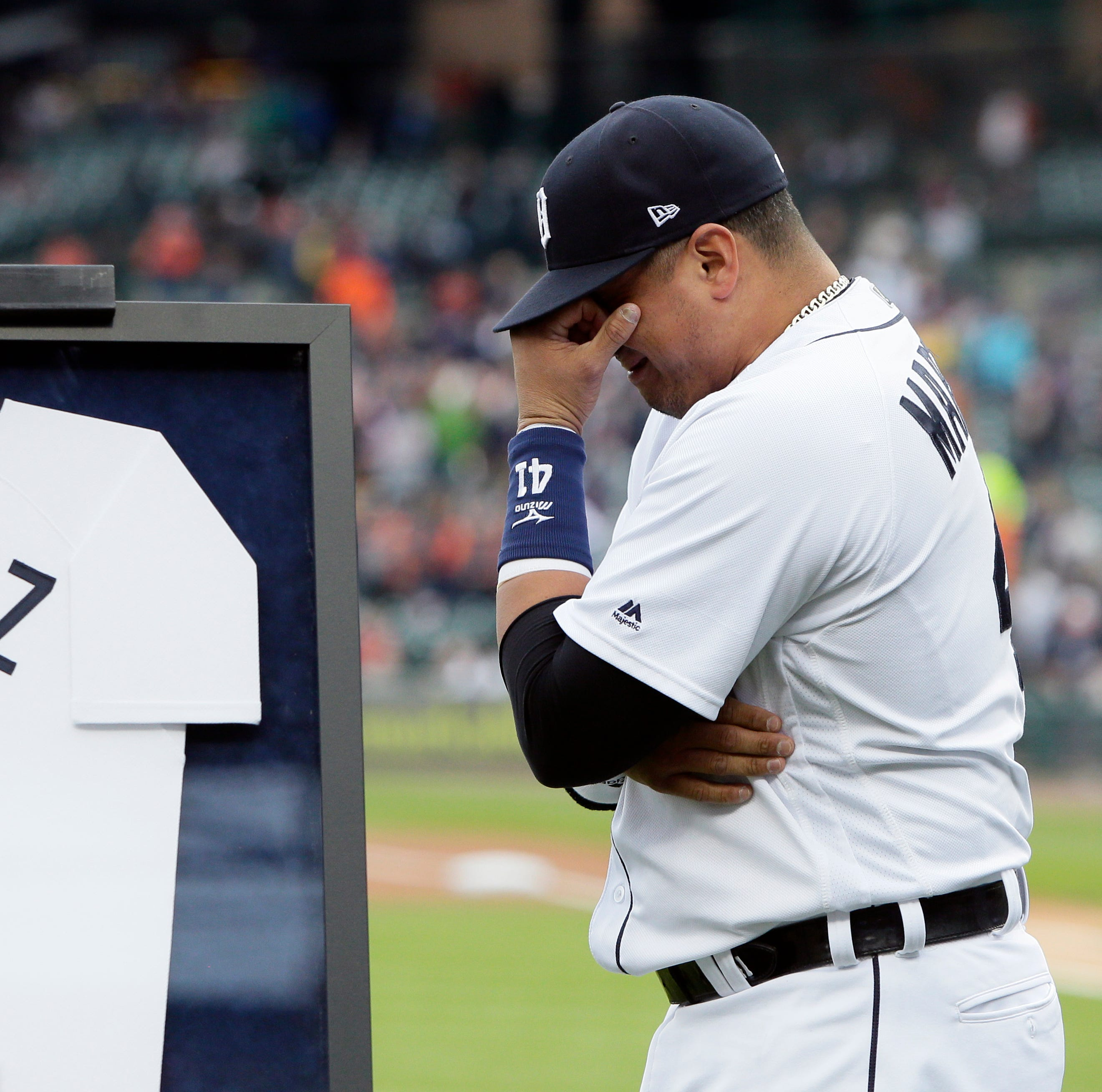 Detroit Tigers' Victor Martinez was a friendly face for a young reporter