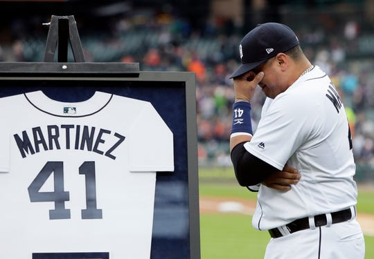 Tigers DH Victor Martinez wipes away tears during his retirement ceremony before the game against the Kansas City Royals, the final game of his career, at Comerica Park on Saturday, Sept. 22, 2018, at Comerica Park.