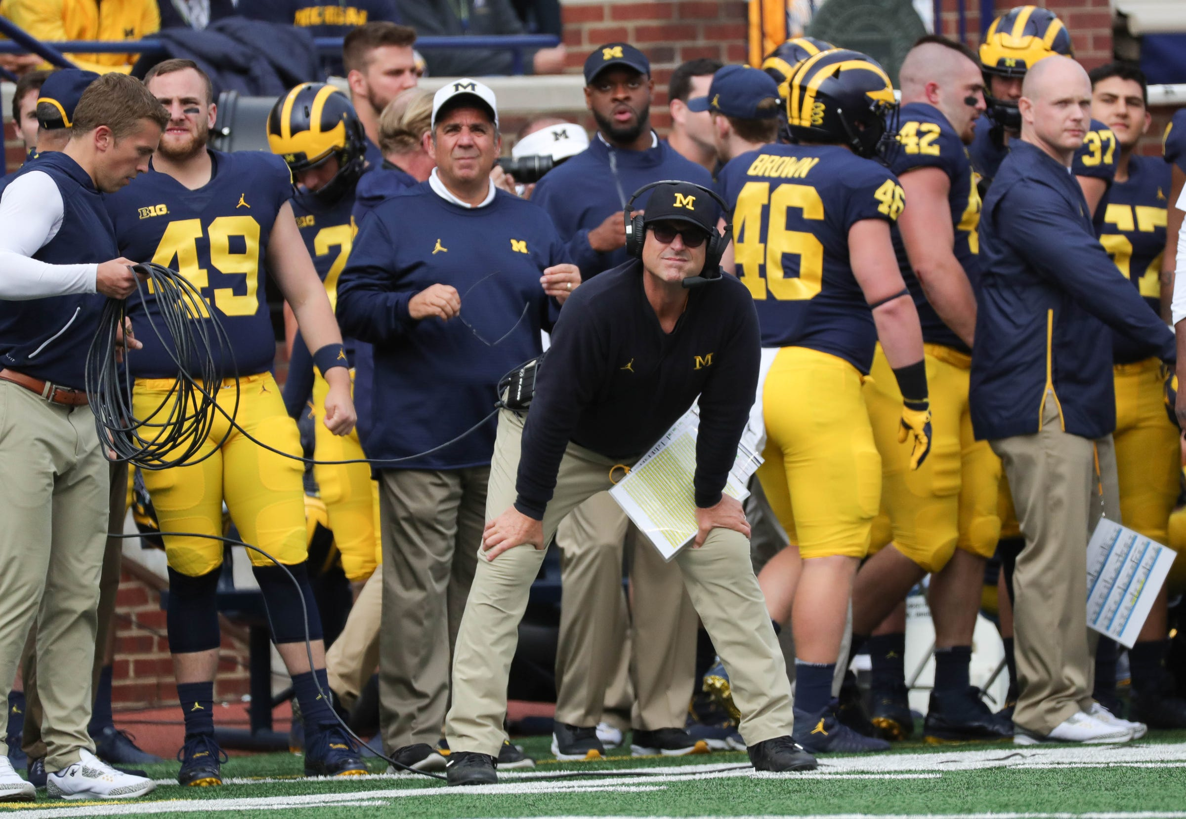 Jim Harbaugh watches a play during U-M's 56-10 win over Nebraska.